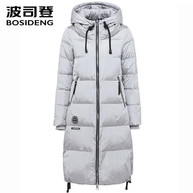 BOSIDENG Парка Длинная с Капюшоном Зимнее Пальто Высокого Качества Пальто женское куртка женская надрезан лацкан B1601332