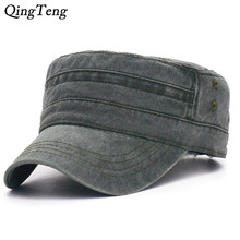 17e9c490 2019 New Denim Flat Top Cap Women Men Snapback Caps Vintage Army Hat Cadet  Military Patrol