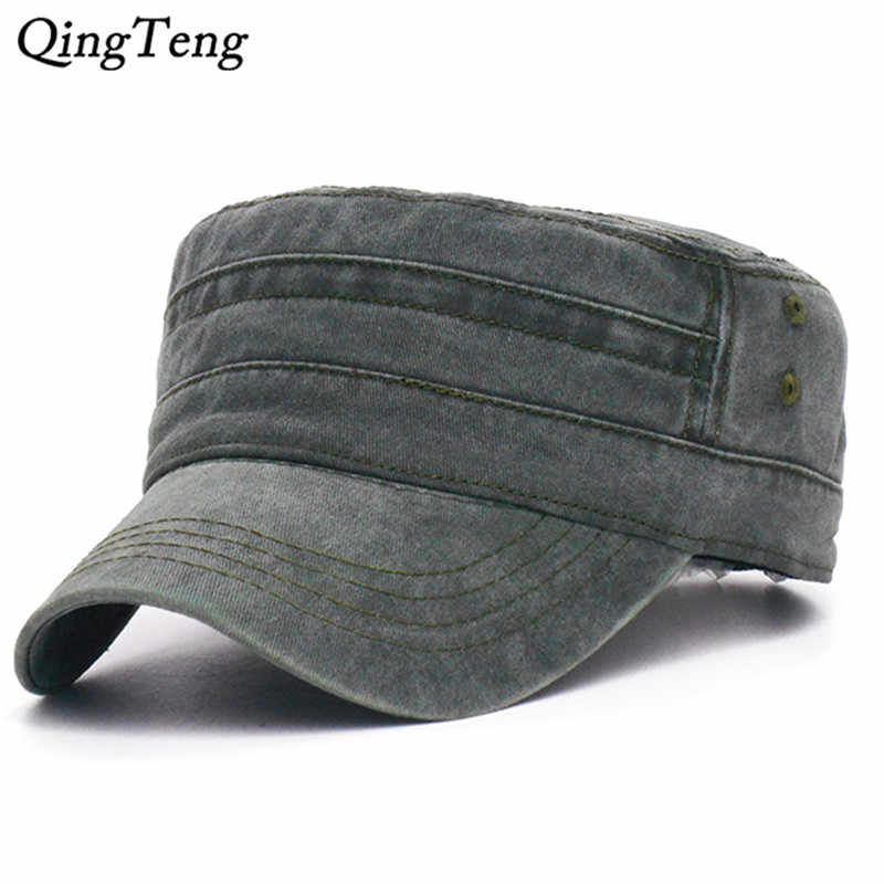 0ca81013818 Detail Feedback Questions about 2019 New Denim Flat Top Cap Women Men  Snapback Caps Vintage Army Hat Cadet Military Patrol Cap Unisex Baseball  Hats on ...