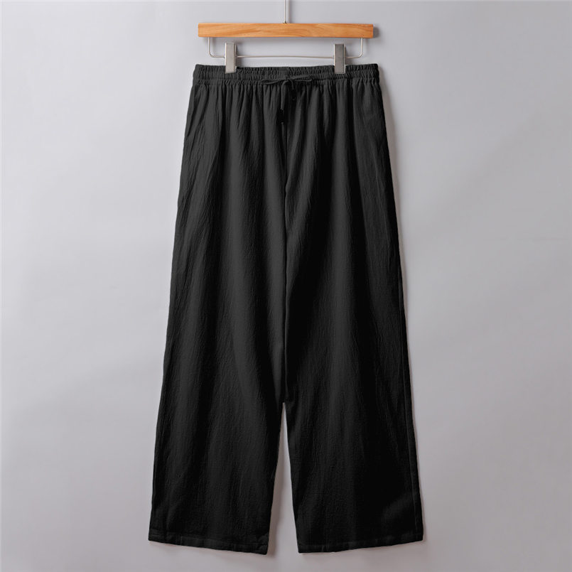 New Men Summer Fashion Trousers Linen Style Loose Casual Breathable Outdoor Solid Pants Sportswear Casual Straight Pants #4R06 (13)