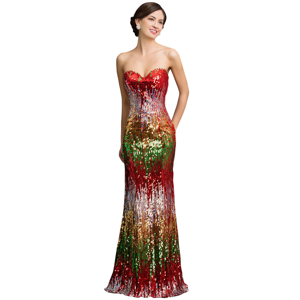 Sweetheart Colorful Sequins Lace Evening Dress 14