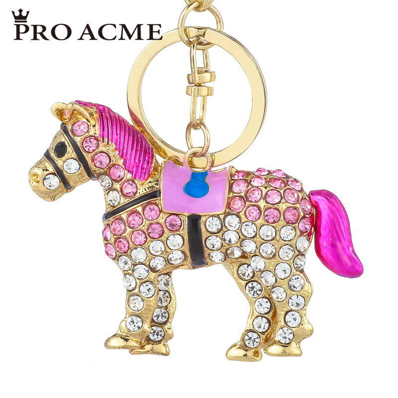 Pro Acme Novelty Horse Rhinestone Keychain Women Bag Chams Pendant Key Chains Car Keyring Key Holder  Gift llaveros PWK0709