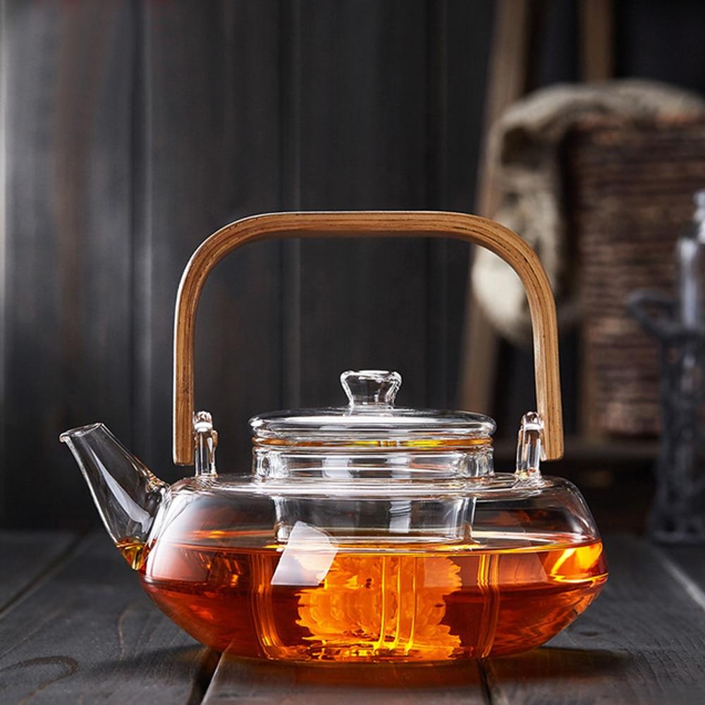 Manico di bambù 800 ml di Fioritura, allentato Leaf Tea Pot con Vetro Colino Coperchio di Sicurezza Lavastoviglie, piano cottura Sicuro Teaset Bollitori