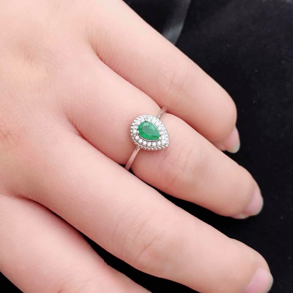 Larme goutte forme bague émeraude vert pierres précieuses bagues de fiançailles pour les femmes argent 925 bijoux mai pierre de naissance
