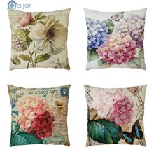 GAJJAR Colorful Pattern Cushion Geometric Printed Pillowcases Linen Cotton Pillow Covers Home Cushion Flower Hot 18OCT10(China)
