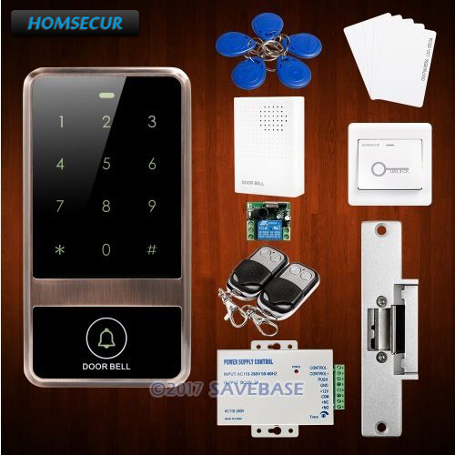 HOMSECUR Waterproof Red Bronze 125Khz Access Control Set With WG26/34 Input and Output For Reading