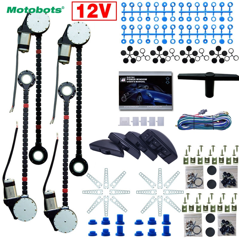MOTOBOTS 1Set Universal Car/Auto 4 Doors Electronice Power Window kits 8pcs/Set Moon Swithces and Harnessb Cable DC12V #AM3740