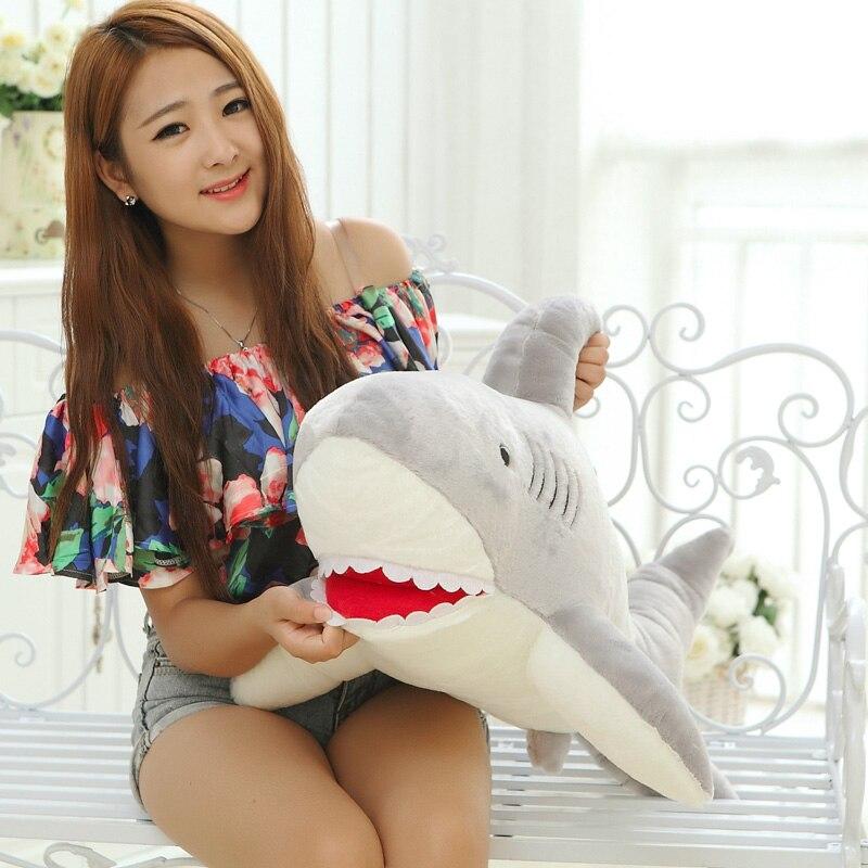 100 см гигантские акулы Плюшевые игрушки куклы для детей чучело Белая Акула подушка для влюбленных подарок - 2