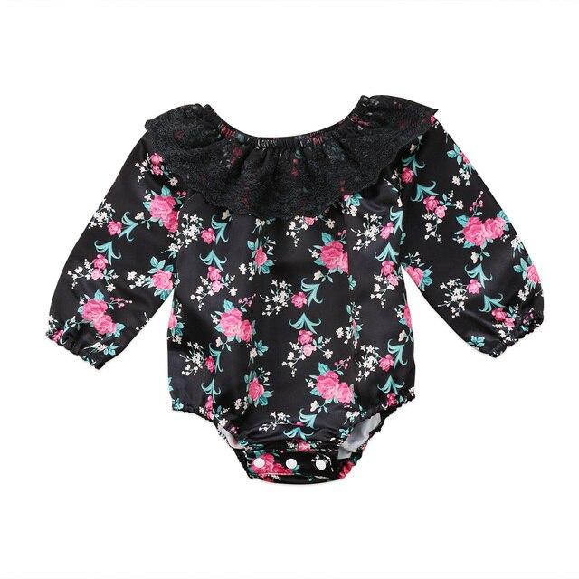 5606d6c1df48c 2017 Nouveau-Né Bébé Fille Floral Dentelle Vêtements Manches Longues  Salopette Body Sunsuit Tenue À