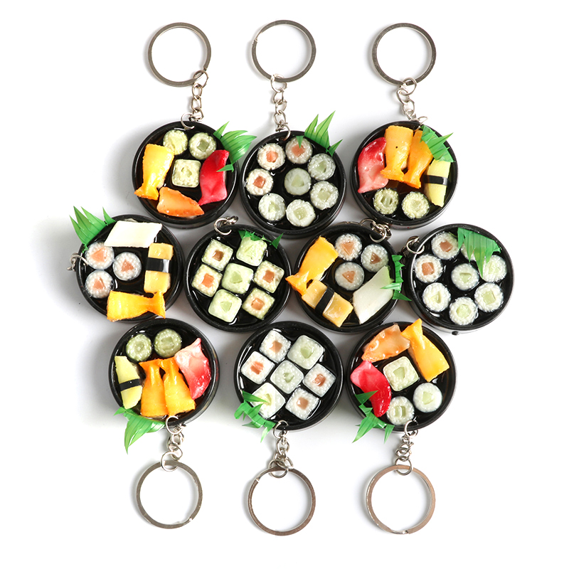 10pcs 9.5cm Key Rings Toy Simulation Food Japanese Sushi Key Chains Kitchen Pretend Play Lanyard Models Kids Toys Brinquedos