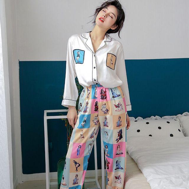2019 Stylish Women Pajama Set Silk Satin Sleepwear Spring Summer Long Sleeve Pants Two piece Suit Home Wear Pyjama Femme P 1032