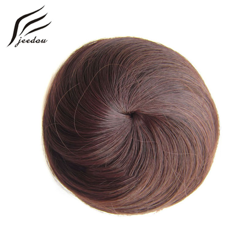 5 Pieces jeedou Synthetic Women's Ponytail Chignon Hair Extension Black Mix Brown Color Straight Rubber Band False Hair Bun