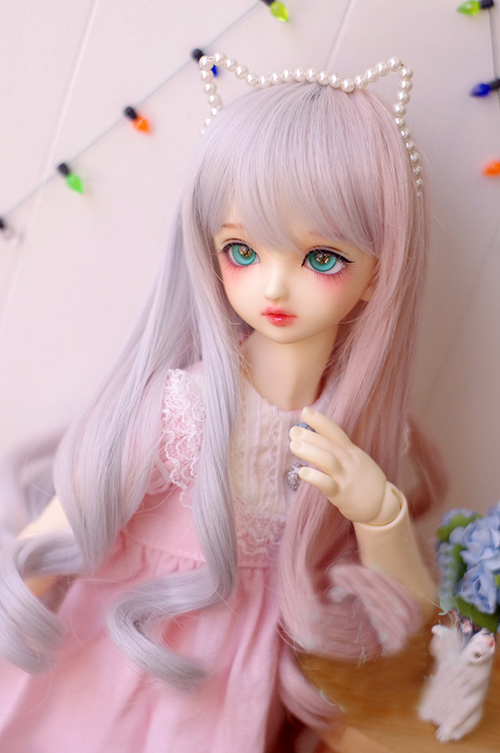 BJD Doll Wigs Gray Pink Mixed Long Curly Hair Wigs For 1/3 1/4 1/6 BJD DD SD MSD MDD YOSD Doll High-temperature Hair Wigs