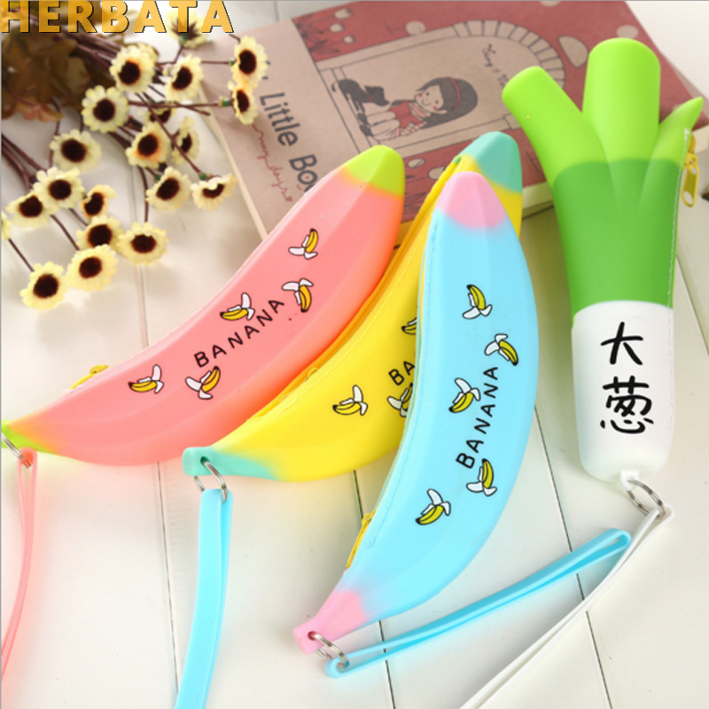 Cute Mini Silicone Pencil Case Banana Plastic Pencilcase Kids Girl Pen Bag Large Capacity Zipper Pencil Coin Pocket Stationery
