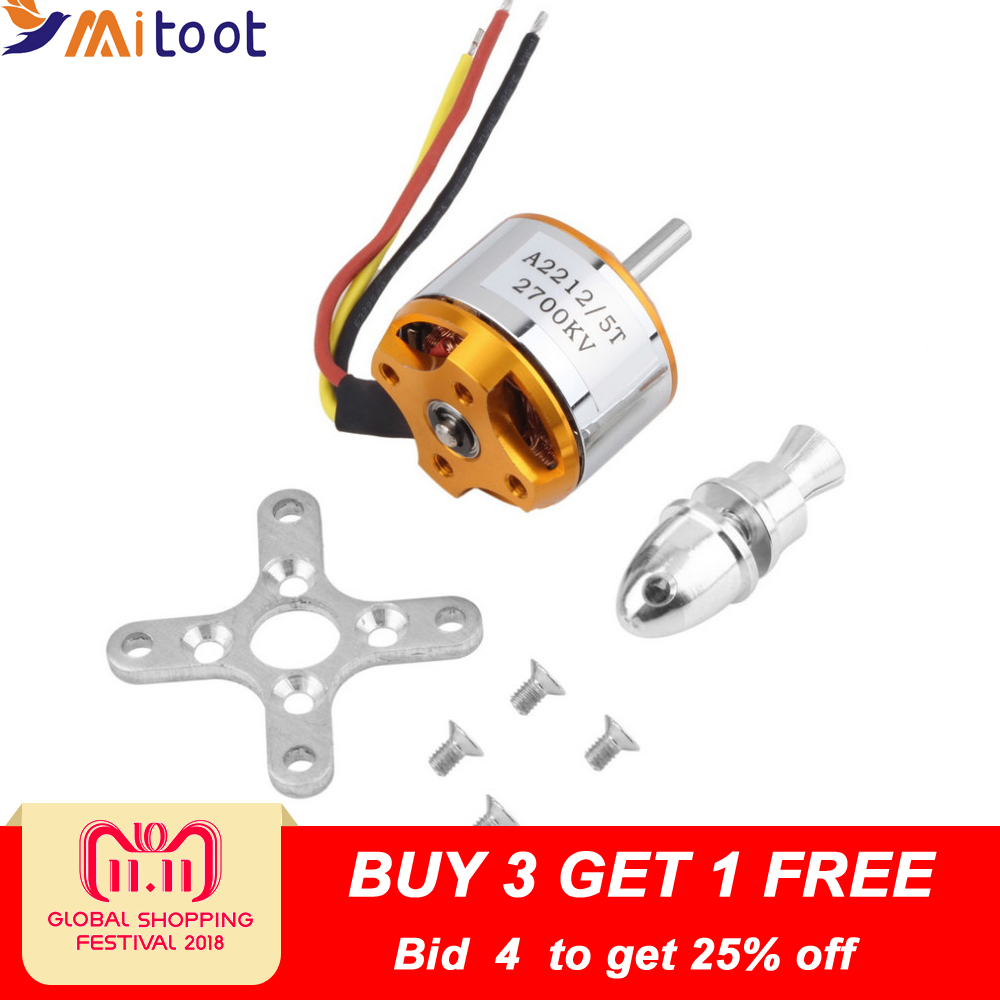 1pcs A2212 Brushless Motor 930KV 1000KV 1400KV 2200KV 2700KV For RC Aircraft Plane Multi-copter Brushless Outrunner Motor a2212 6t 2200kv brushless motor set for r c toy golden silver