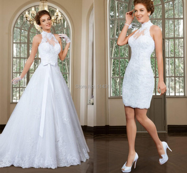 High Neck Wedding Dresses Sheer Tulle Detachable 2 in 1 Bridal Gowns ...