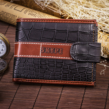 Men's Stylish Short Leather Wallet with Crocodile Leather Pattern