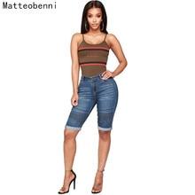 Plus Size Skinny Capris Jeans Women Female Stretch Knee Length Denim Shorts Jeans Pants ladies With High Waist Denim hot pants