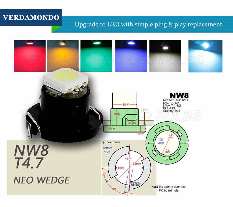 T4.7 Lampu LED 5050 SMD Mobil Dashboard Peringatan Indikator Lampu Instrumen Cluster Bulb DC12V Putih Biru Hijau Kuning Merah Es biru