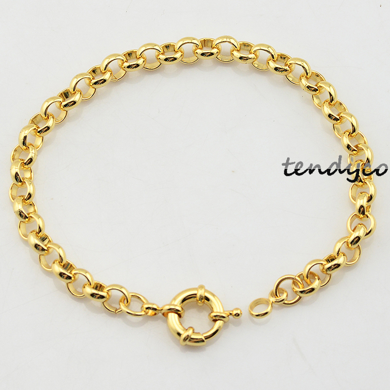Gold Link Bracelet Womens: 6mm Round Rolo Mens Womens Female Yellow/White Gold Filled