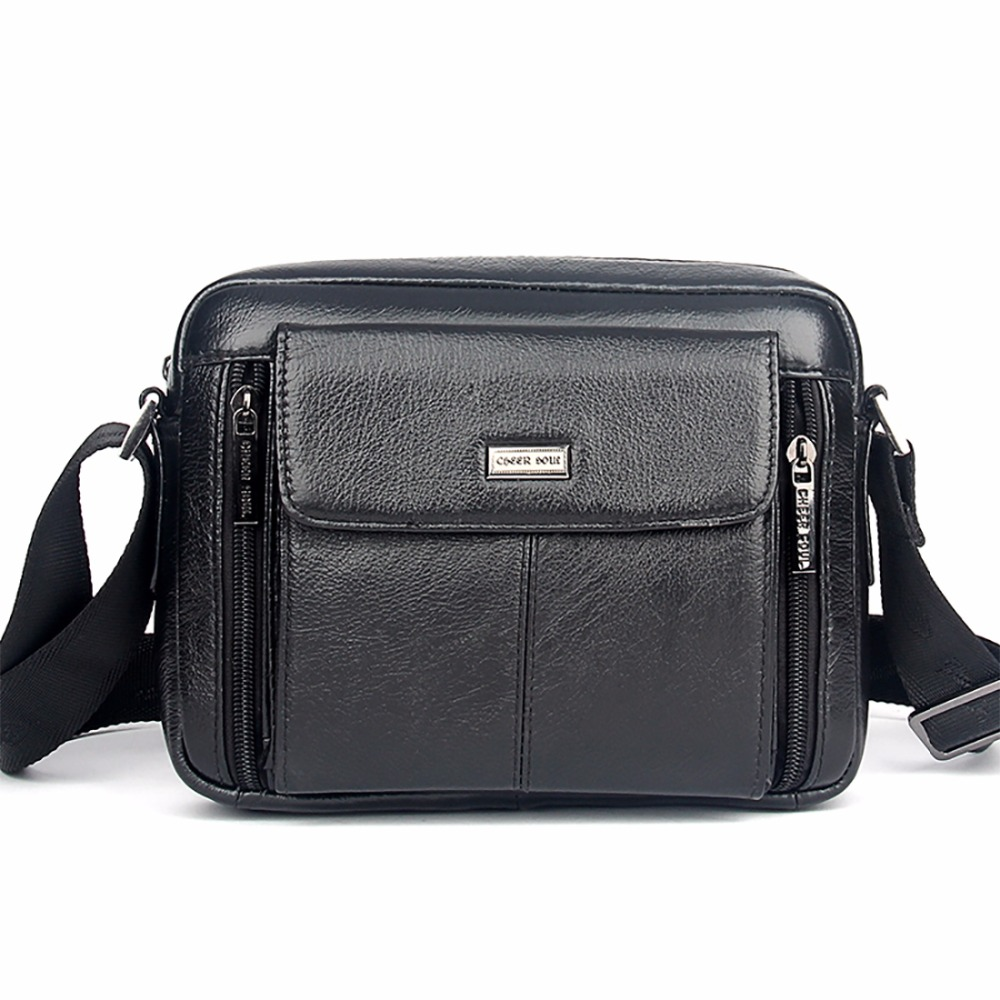 Genuine Leather 100% Cowhide Men Sling Shoulder Briefcase Bag Famous Brand Business Male Cross Body Messenger Bags High Quality