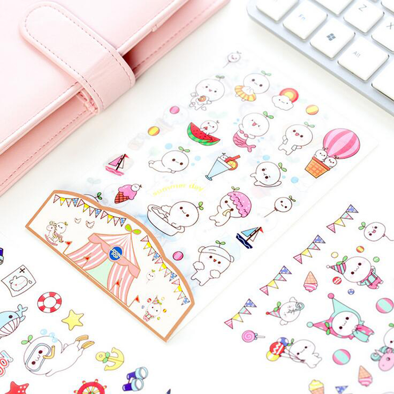 H09 6 Sheets Kawaii Cute Budding Pop DIY Decorative Stickers Diary Phone Bottle Decor Stick Label Kids Gift Stationery e05 1 sheet my kawaii friends decorative adhesive stickers diy scrapbooking sticker stick label decor stationery kids gift