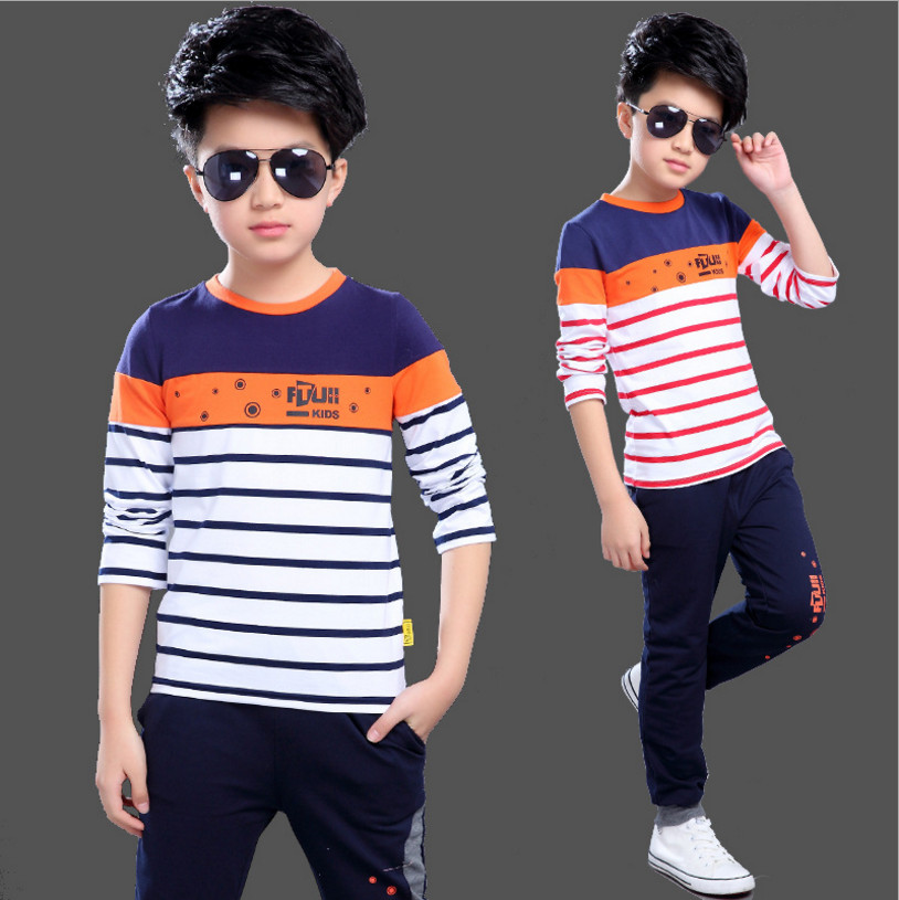 IIMADFWIW Summer Boys Clothing Sets Kids Set Fashion Casual Short Sleeve Boys Clothing Set Children clothes Striped Color Blue