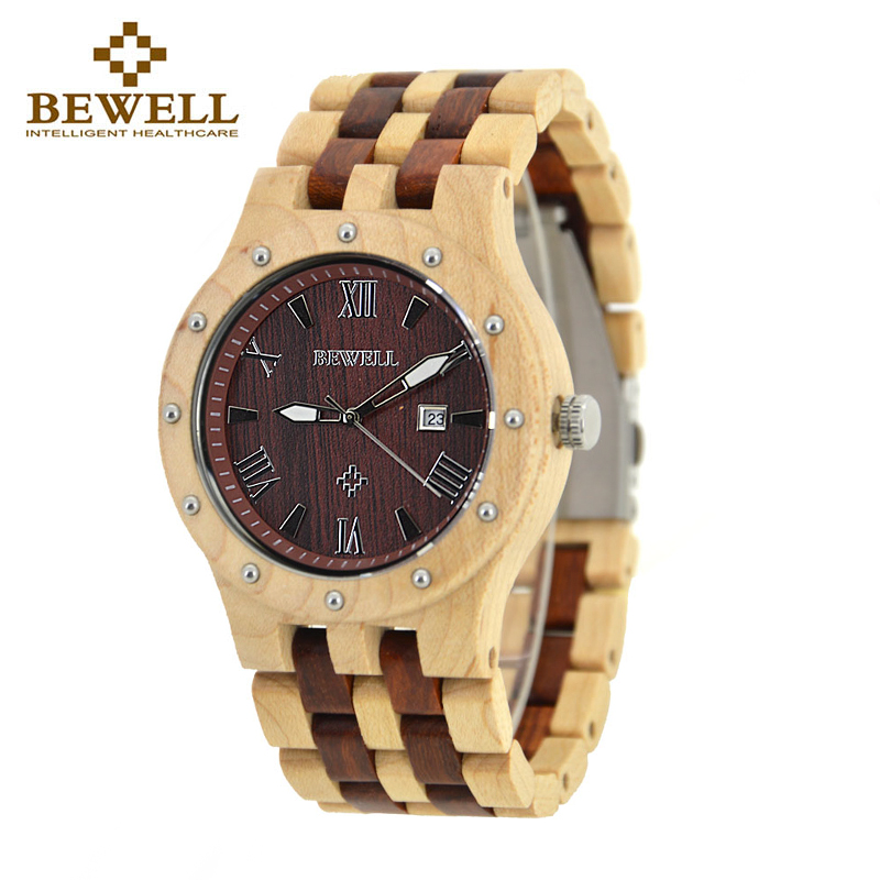 BEWELL 109A Herr Sandal Trä Klockor Handgjord Datum Display Analog Quartz Luminous Armbandsur Vintage Round Wood Case Watch