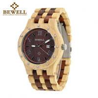BEWELL 109A männer Sandale Holz Uhren Handgemachte Datum Display Analog Quarz Leuchtende Armbanduhr Vintage Runde Holz Fall Uhr
