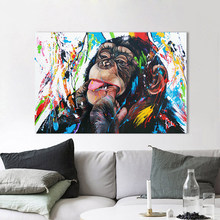 HDARTISAN Vrolijk Schilderij Wall Art Canvas Painting Funny Chimps Animal Picture Prints Home Decor No Frame(China)