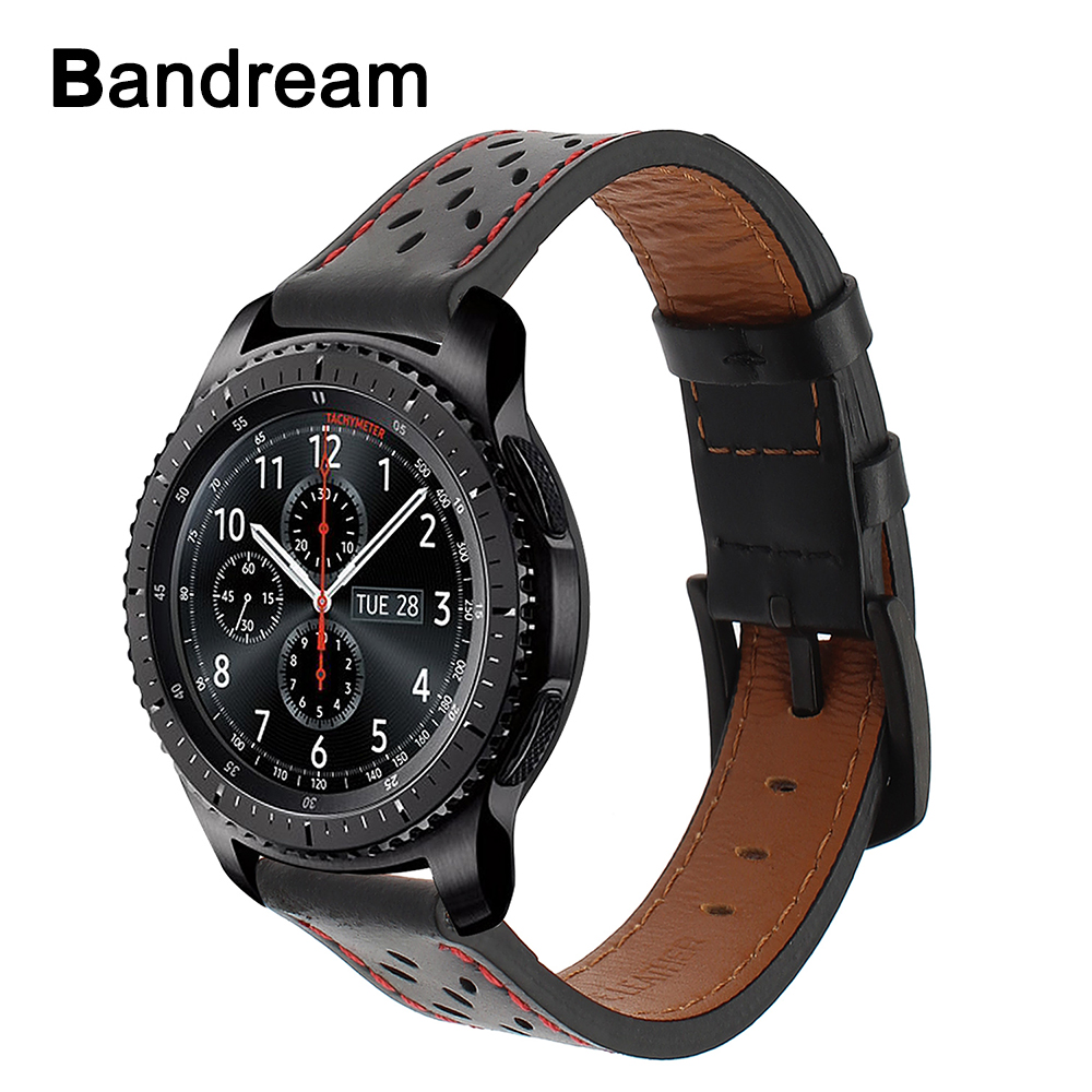 все цены на Top Layer Genuine Leather Watchband for Samsung Gear S3 Classic Frontier R760 R770 Quick Release Watch Band Steel Buckle Strap
