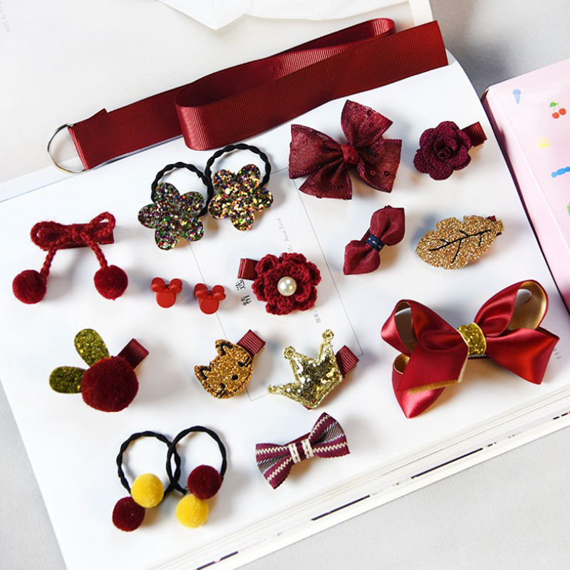 18pcs Head Wear Set Child Elastic Bow Knot Hair Clips Crown Rabbit Flower Barrettes Hairpins Kids Girls Xmas Gift Jewelry #6