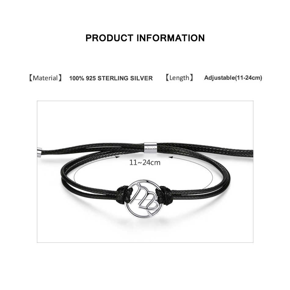 ELESHE винтажные браслеты из стерлингового серебра 925 пробы с изображением звезды Водолей, кулоны со знаками Зодиака, браслет из кожи 12 созвездий для женщин и мужчин