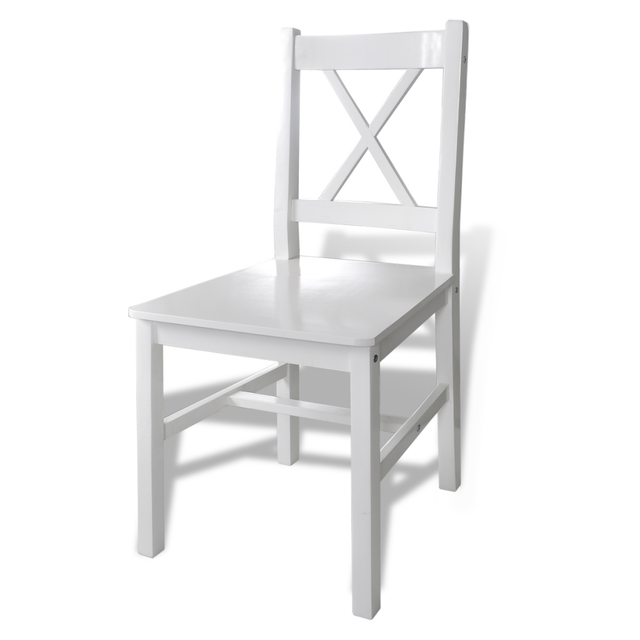 Outdoor Wooden White Table with 4 Chairs Set  4