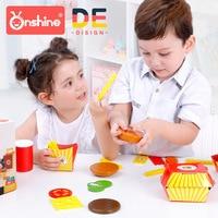 Onshine Children Wooden Hamburger Set Toys Simulation Food Kitchen Toy Pretend Play Toys 3 Years+