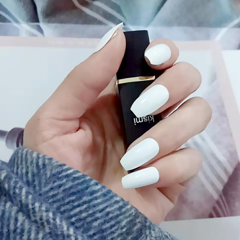 24pcs Black Acrylic Nails Fake Girls Short False Nails Press
