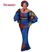купить Hitarget African Women 3 Pieces Sets Dashiki Cotton Print Wax Crop Top+Skirt Set+Head Scarf african clothing customizable WY3770 дешево