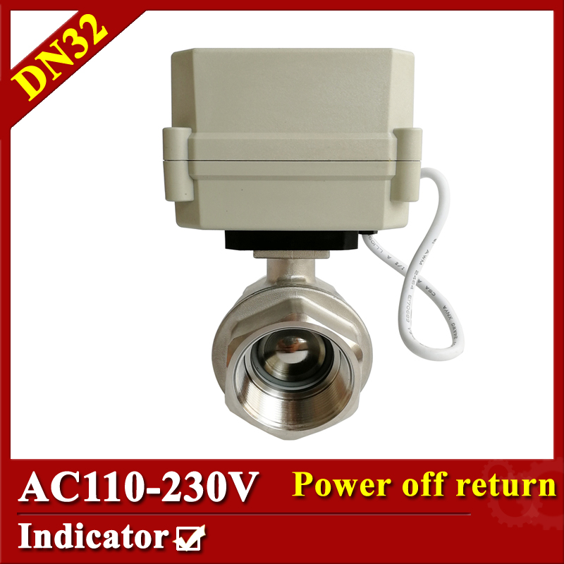 Tsai Fan  Electric valve SS304 2 way DN32 electric actuator valve 2/5 wires 110V-230V electric ball valve with normal close/open 1 2 ss304 electric ball valve 2 port 110v to 230v motorized valve 5 wires dn15 electric valve with position feedback