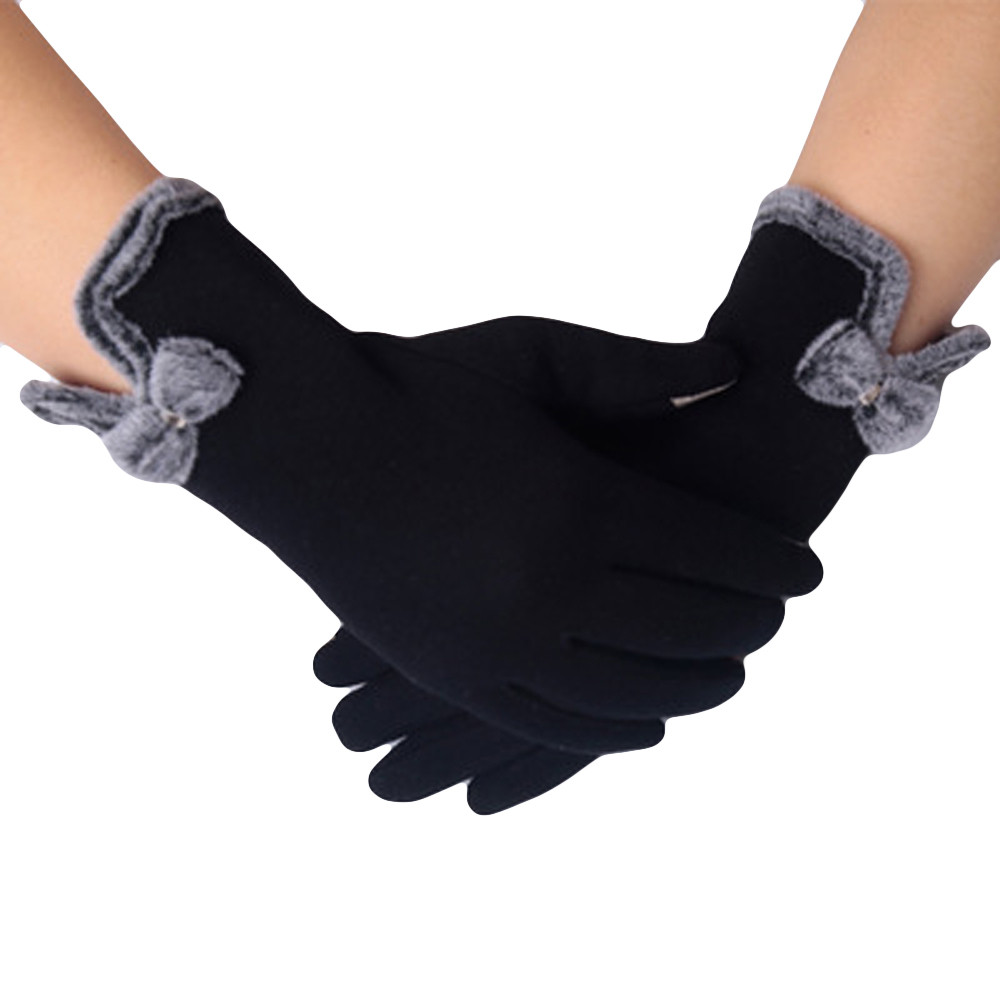 Fashion Women Gloves Mittens Gloves Full Finger Fluffy Warm Bow Winter Women Arm Gloves Handschoenen Gloves Gants Femme 2018