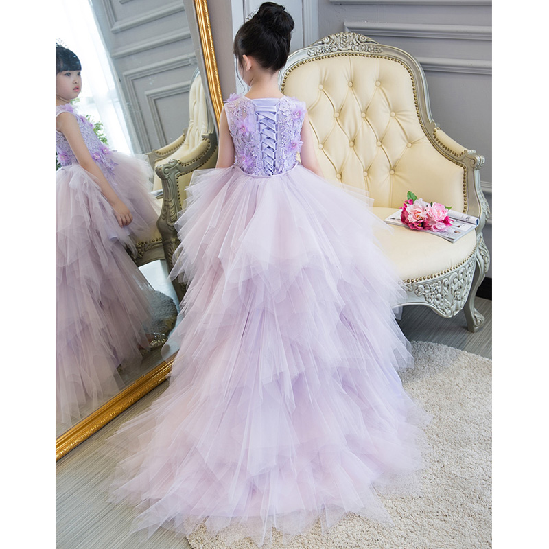 Royal Purple Holy Communion Dress Ball Gown Long Trailing Flower Girl Dresses for Wedding Lace Up Floral Pricess Dress B110 все цены