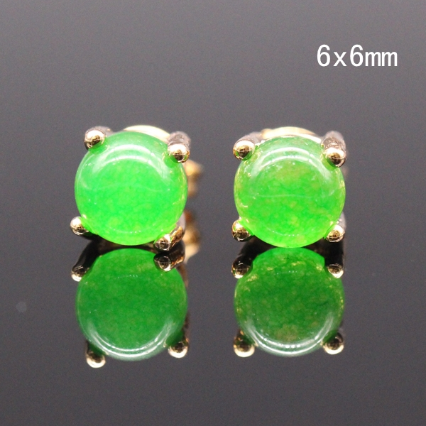 Clic Style Jinyao Jewelry Gold Color 6x6mm 7x5mm Round Green Stone Stud Earrings For Women
