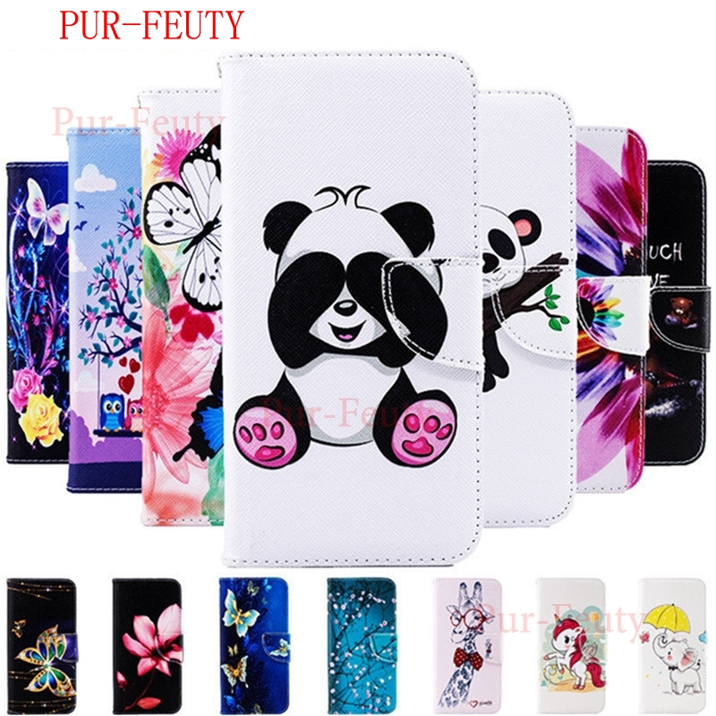 Case For Huawei Y7 Prime 2019 DUB LX1 L21 Y7 2019 fashion cartoon Leather wallet Flip Magnetic cute Cover For Huawei Y7 Pro 2019 image