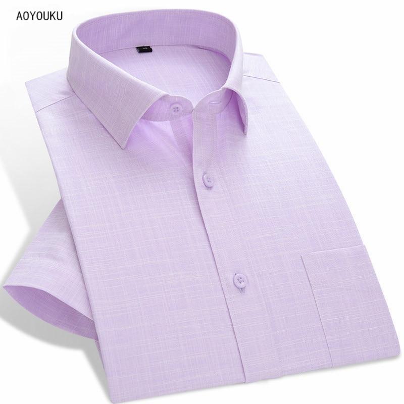 2018 Letní Stylové prodyšné Muži Slim fit košile s krátkým rukávem pevné mužské vysoce kvalitní klasické levné košile