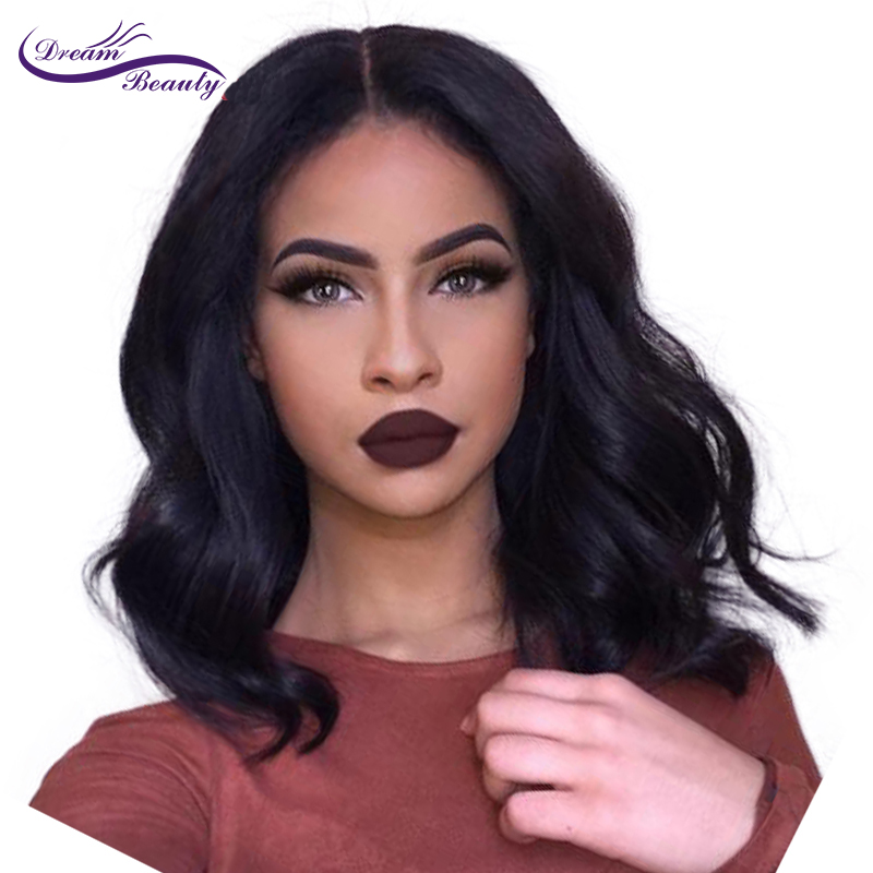 wicca fashion Lace Front Human Hair Wigs For Black Women Body Wave Brazilian Non Remy Hair 150% Density Bob Wig Middle Part Wig