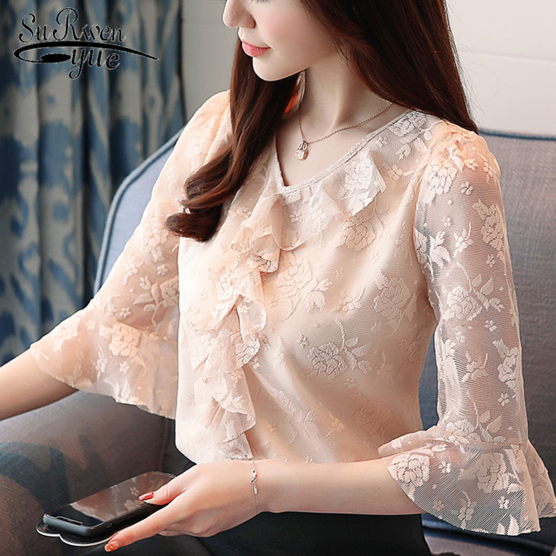 summer lace women   blouse     shirt   new 2019 fashion apricot patchwork women clothing elegant solid color women tops blusas 0362 40
