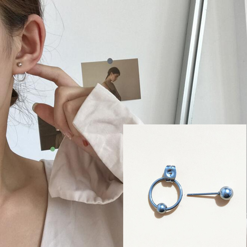 1pcs Fashion jewelry Geometric round with beads stud earrings best gift for women and men bts earrings girl wholesale