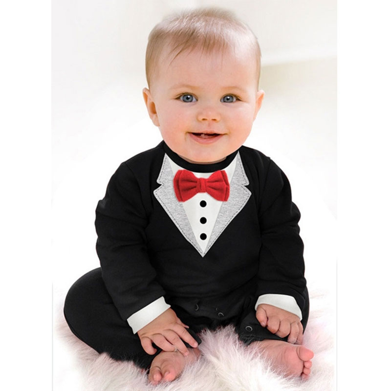Fashion Baby Boys Clothes Romper Newborn Baby Clothing Kids Suit Formal Wedding Cloth Outerwear Gentleman Romper 2017 Spring