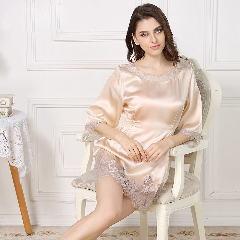 100% silk summer sexy highness sleepwear lace o-neck nightdress for women silky sexy silk nighties sleepdress elegant nightgowns