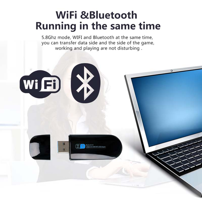 ZAPO Mini 5G WIFI USB Bluetooth 4.0 Lan Adapter 802.11ac Wireless 600 - Peralatan jaringan - Foto 2