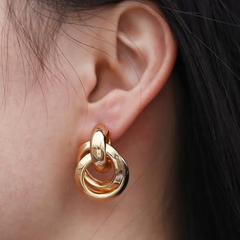 Flashbuy Gold Color Twist Alloy Drop Earrings For Women Simple Geometric Earrings Wedding Fashion Jewelry Trendy Accessories 4